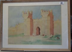 Frank Galsworthy watercolour of Marrakesh 1936, landscape scene Entrance to the City or a Mosque,
