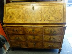 Generous early 19 th century Gentleman's inlaid Bureau, of large proportions, single fall front