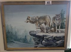 Framed oil on board, entitled Waiting Wolves by Ken Stroud, purchased from Nevill Gallery, 3 x