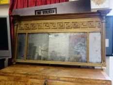 Classical inspired early 19 th century over mantle mirror with triple mirror section to the front,