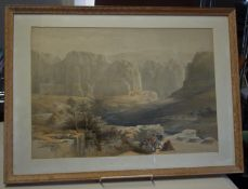 Edward Lear, 3 x Framed and glazed Chromolithographs depicting panoramic landscape scenes from the