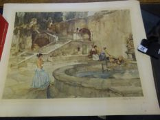 Sir William Russell Flint, a signed in pencil limited edition coloured print, 5 girls bathing by a