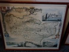 4 x assorted framed Maps including Kent, Devonshire, Portsmouth and the smaller islands of the