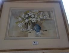 Framed and glazed watercolour by Leslie Marsh, Falling Petals, purchased from the Nevill Gallery,