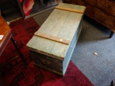 """19 th century pine travellers chest with lift up lid, 3' long 18"""" tall and 14"""" deep"""