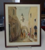 4 x similar Moroccan watercolours depicting town scenes with figures and buildings, signed bottom