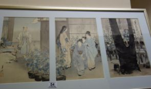 Japanese watercolours on paper, depicting village scenes with figures and interior scenes, each