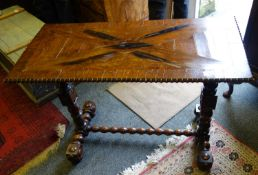 Nautical influenced 19th century sofa table with Marquerty design top above 2 columns each centre