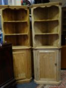 2 x similar stripped pine corner units each on 6' tall containing 3 shelves to the top section above