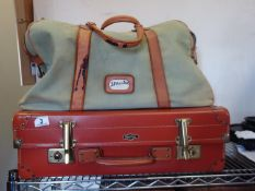 Fleetline light weight vintage luggage case with brass highlights and a similar period leather and