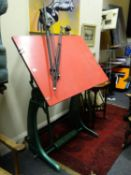 Designer architects drawing table, cast iron makers mark Angular, probably c1930's in working
