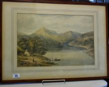 Pair of early English 19 th century watercolours, signed bottom right, both depicting mountainous