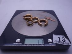 2 x pairs of 9ct GOLD earrings, 9ct GOLD cross and a 9ct GOLD wedding band 12 grams