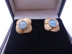 Pair of un-marked GOLD and opal set stud earrings 4 grams, c1930's