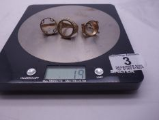 3 x 9ct GOLD coin rings, coin area would except half or full sovereign, 20 grams ,