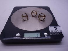 3 x 9ct GOLD coin rings, coin area would except half or full sovereign, 10 grams ,