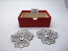 Stunning cast silver Nurse's Buckle both sides set with the face of a female, makers mark PJB h/m