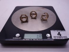 3 x 9ct GOLD coin rings, coin area would except half or full sovereign, 18 grams ,