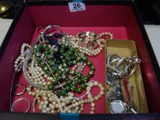 Box containing costume jewellery and beads,