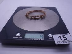 9ct GOLD Art Nouveau bangle set with stones, some stones missing, 9 grams,