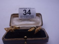 Pair of Gent's 9ct vintage cuff links with engraved decoration to the front 6.2 grams h/m 9ct,