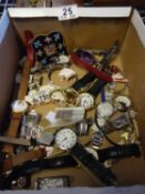 Box containing assorted watches for spares or repairs