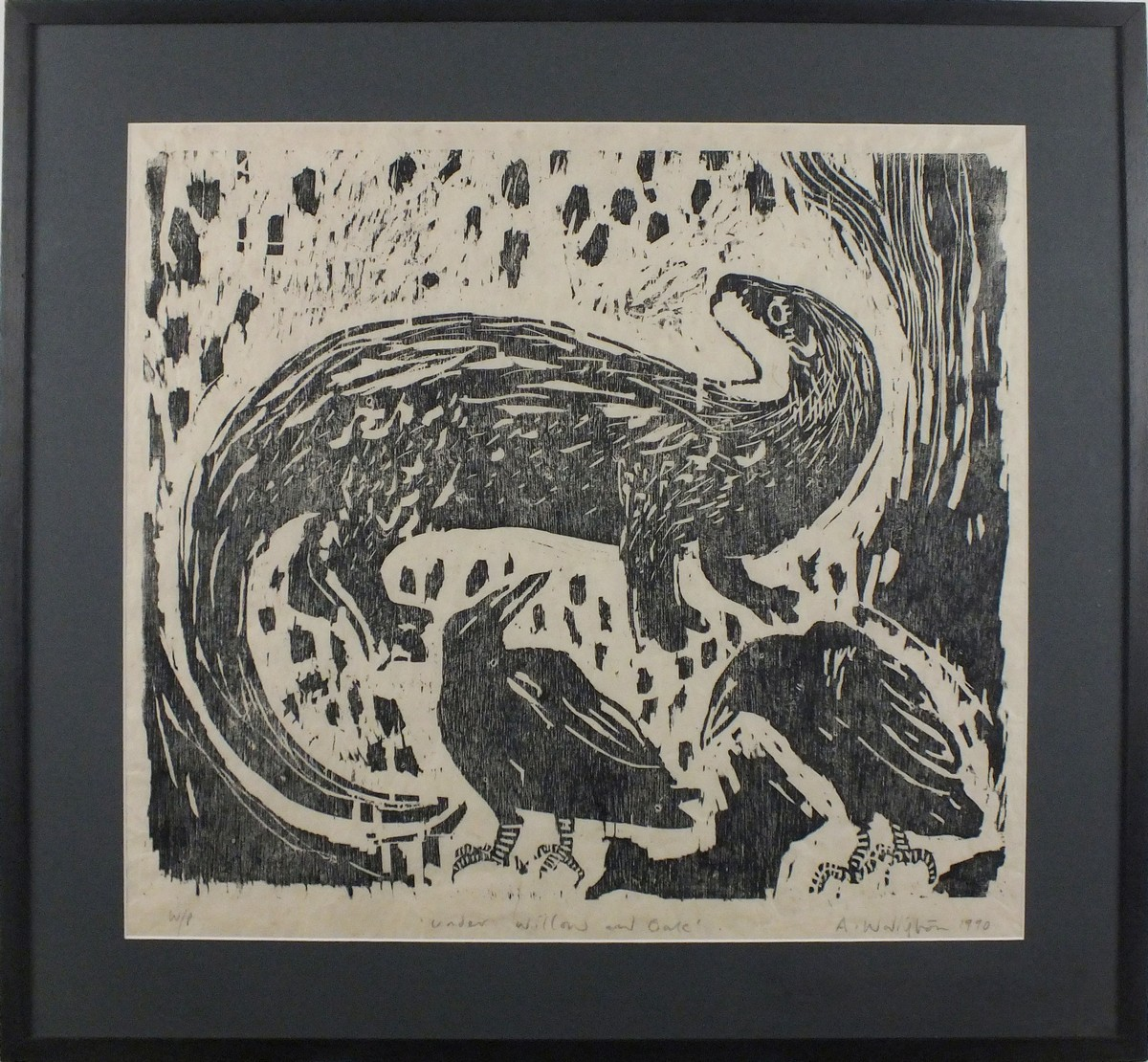 Lot 255 - Andrew WADDINGTON (British b. 1960) Under Willow and Oak, Woodcut, Signed, titled, dated 1990 and