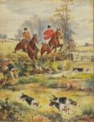 After Nora DRUMMOND-DAVIESHuntsman & Women Clearing a Fence, Watercolour, Bearing signature lower