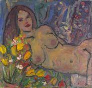 Kanwaldeep Singh KANG (aka NICKS)( Indian 1964-2007)Nude Reclining Amongst Flowers, Oil on canvas,
