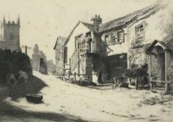 Bernard Eyre WALKER (British 1886-1972)Church Cottages - Hawkshead, Etching, Signed and titled in