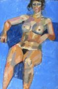 """Samuel DODWELL (British 1909-1990)Seated Nude Study, Oil on board, Artist label verso, 23.75"""" x"""
