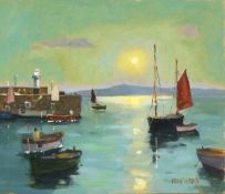 Eric WARD (British b. 1945)St Ives Nocturn - Harvest Moon St Ives, Oil on board, Signed lower