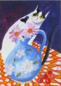 Ponckle FELTCHER (British 1934-2012)Cat on a Table with Floral Vase and Cherries, Signed and