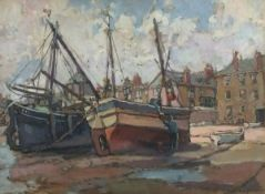 Hurst BALMFORD (British 1871-1950)St Ives Fishing Boats at the Wharf, Oil on canvas-board, Signed