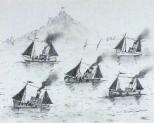 Simeon STAFFORD (British b. 1956) Boats off St Michael's Mount, Pencil drawing, Signed lower