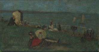 19th/20th Century French School, Figures Relaxing Overlooking a Beach, Oil on canvas, Indistinctly