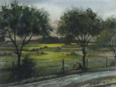 """Richard SLATER (British b. 1927)Trees in Evening Light, Watercolour, Signed lower right, 9"""" x 11."""