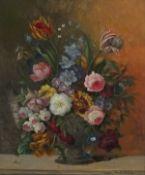 Karl HEINER (Austrian 19th/20th Century)Flower Piece - Still Life of Tulips and Summer Flowers in a