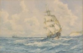S. MCKINLEY (British Late 19th/Early 20th Century) A square rigged clipper ship under full sail