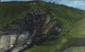 Rosalind EASTMAN (British b. 1946)Cliff Walkers, Welltown Gut, Oil on board, titled, signed and