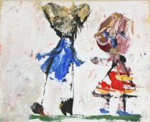 Michael BROIDO (British 1927-2013)Two Figures Wearing Red and Blue, Oil on card, Signed lower left,