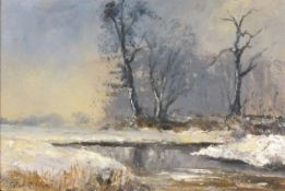 Peter OLIVER (British 1927-2006)Winter Comes to the Yarty, Oil on board, Signed lower left,