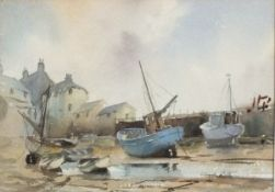 Claude KITTO (British 1913-2004) St Ives - boats at low tide, Watercolour, Signed lower right, 9.