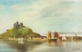 John SHAPLAND (British 1865-1929) Vessels approachingSt Michael's Mount, Watercolour, Signed