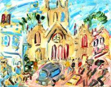 "Sean HAYDEN (British b. 1979) St Mary's Church Penzance, Oil on board, Signed lower left, 16"" x"