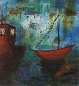 """A. LEWIS (British 20th Century) Two boats moored in a harbour, Mixed media, 9"""" x 8"""" (22cm x 20cm)"""