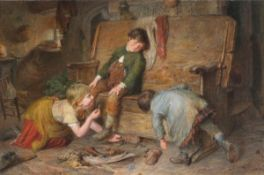 Attributed Frederick James SHIELDS (British 1833-1911)Children Playing on a Monks Bench,