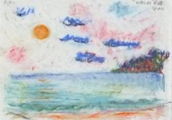 Adrian RYAN (British 1920-1998)Warm Red Corfu, Conti and mixed media, Signed upper left, titled