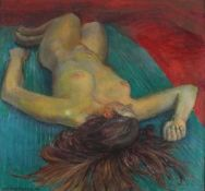 Geoffrey UNDERWOOD, (British 1927-2000)Reclining Woman, Oil on board, Signed and dated '81 lower