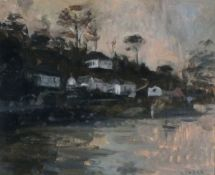 Andrew TOZER (British b. 1974) Late in the Day, Helford Village, Oil on board, Signed lower